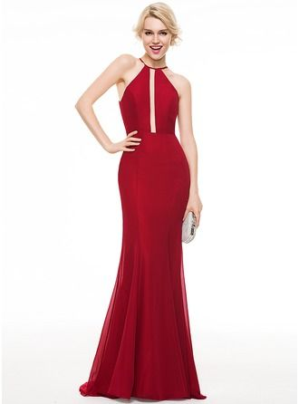 Trumpet/Mermaid Scoop Neck Sweep Train Chiffon Prom Dress