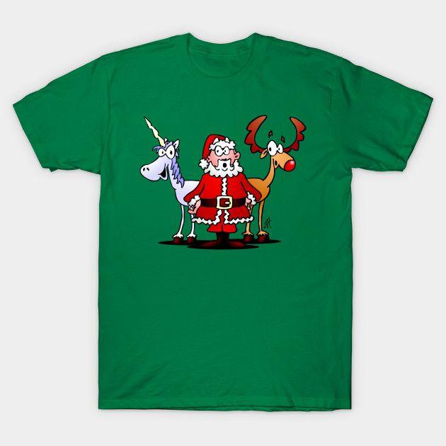 Santa, reindeer and a unicorn T-shirt.  #Christmas #Tshirt #Santa #SantaClaus #Reindeer #Unicorn @Teepublic #Cardvibes #Tekenaartje