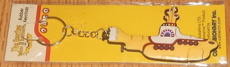 The Beatles Yellow Submarine Movie Submarine Image Rubber Keychain NEW Key Chain