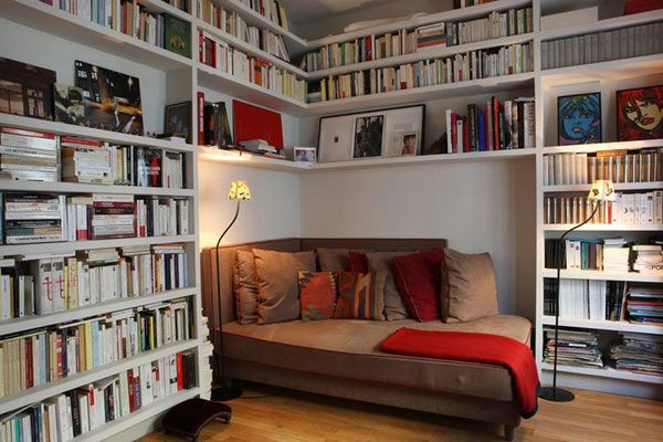 Reading nook. this would be so cool... all books we ever had and ever read keep them for the kids. and have it an office and a library