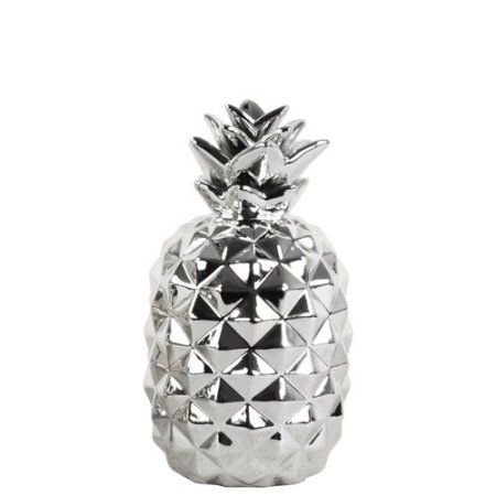 Urban Trends Collection: Ceramic Pineapple Figurine, Polished Chrome Finish, Silver