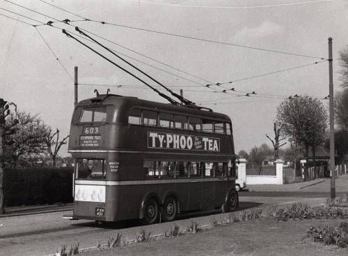 Trolley Bus in the early 60's at King Charles Road and Ewell Road, Tolworth, Surrey.
