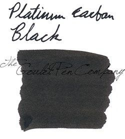 60ml bottle of Platinum Carbon Black fountain pen ink. This is slightly different than conventional fountain pen ink, because it is pigmented instead of dye-based. This makes it very permanent (waterproof) and lightfast, though it does require more diligent maintenance in your fountain pen. It's ideal for brush pens and fountain pens being used on paper where you need ink to dry on the surface instead of soaking in.