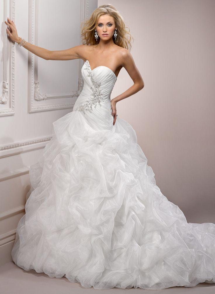 Organza Softly Curved Neckline A Line Wedding Dress