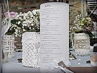 Tischkarte Hochzeitsdeko Vintage Gläser und Vasen