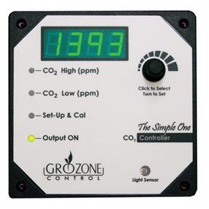 Grozone SCO2R CO2 Contoller- Hi Temp Shutoff. This easy to use CO2 controller determines precisely when to activate and shut-off CO2 generators to maintain user-defined LOW and HIGH CO2 values in the grow room. The unit can deactivate CO2 enrichment during the night cycle and perform CO2 evacuation as well. The CO2 sensor is located in the controller box.