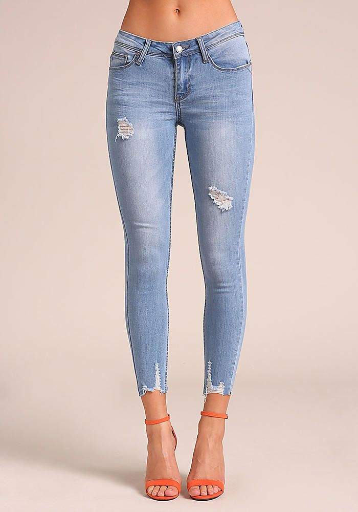 8f241bf3fec3 Junior Clothing | Light Denim Distressed Ankle Skinny Jeans - Clothes - New  | Loveculture.com