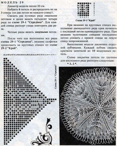Кружевные салфетки спицами -3
