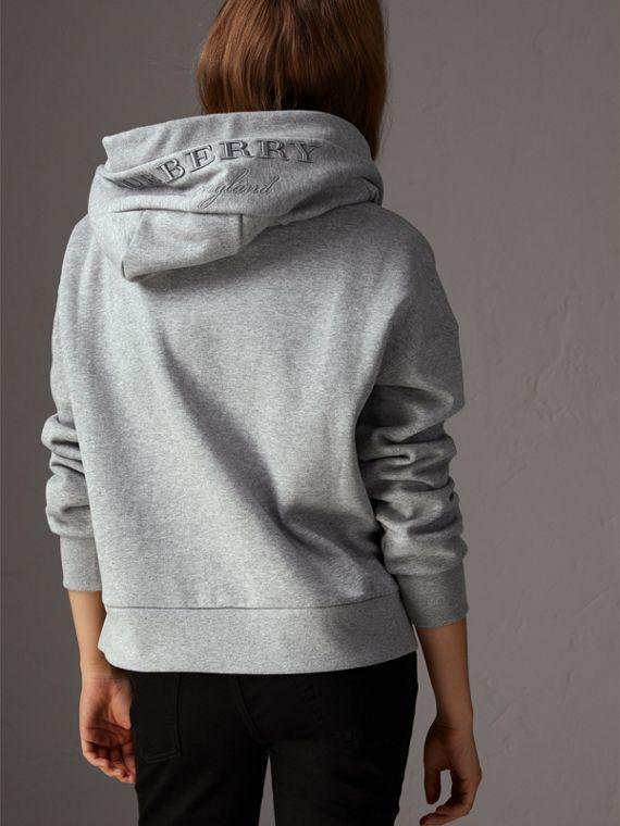 cbf1eadeaace Embroidered Hood Fleece-back Jersey Sweatshirt in Pale Grey Melange - Women