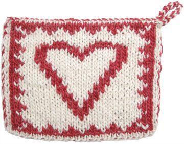 Double Knitting Patterns : Free Knitting Patterns - Heart Double Knit Hot Pad KnittingHelp.com ...
