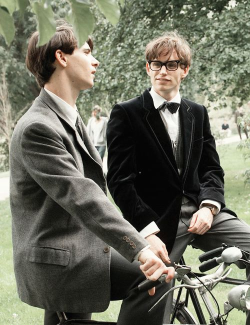 Harry Lloyd and Eddie Redmayne behind the scenes of The Theory of Everything