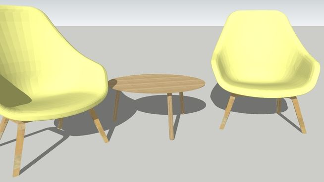 Large preview of 3D Model of AAL93 Lounge chair by HAY + Knock on wood Lounge table by VERSUS