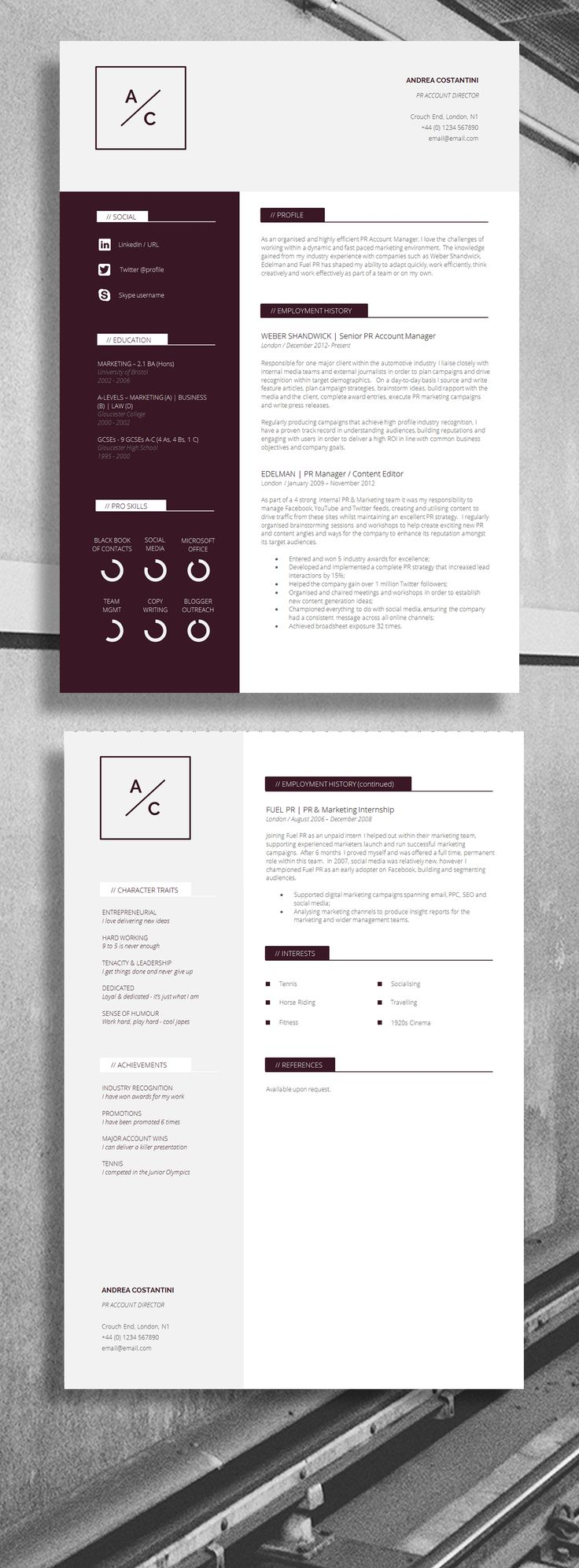 Professional CV / Resume - Strong Layout, suitable for... Accountant, Account Director, IT Director. Job resume inspiration