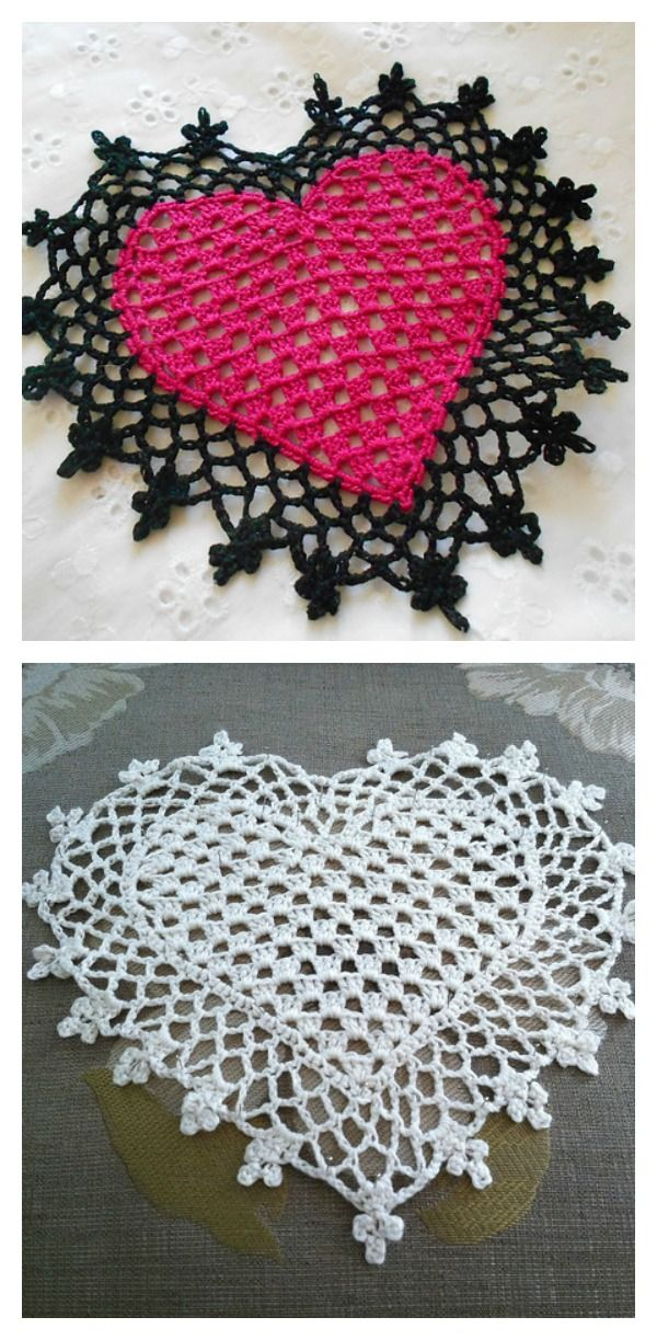 Crochet Heart Coaster or Mini Doily Free Pattern