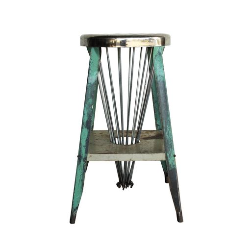Teal Industrial Stool : Aurora Mills Architectural Salvage