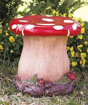 What better place to enjoy your garden than from a whimsical mushroom stool? via Lakeside.comIdeas, Mushrooms Stools, Patios Furniture, Modern Patios, Chairs, Alice In Wonderland, Mushrooms Gardens, Outdoor Patios, Gardens Stools