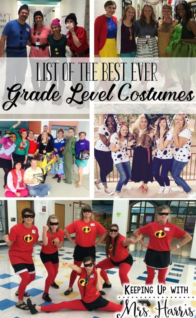 List of Best Ever Grade Level Costumes - Great ideas for Book Character Day, Spirit Week, Red Ribbon dress up week, and more!