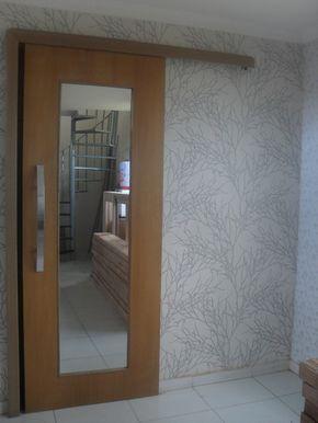 Porta de correr com trilho embutido, vidro panorâmico inclor - Ecoville Portas Especiais
