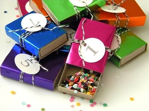Fill shiny matchboxes with confetti to give to your guests. | 51 DIY Ways To Throw The Best New Year's Party Ever