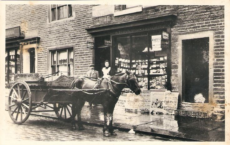 """No.30 Dale Street, William Stock's newsagents, later to become 'Eddas's?, now part of the """"Do Dig Doggy""""."""