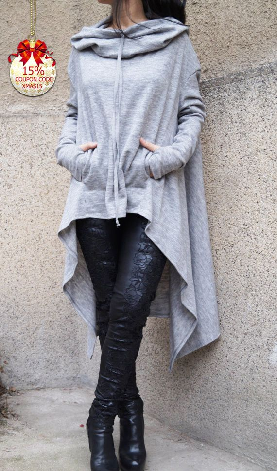 Gray Maxi Sweater/Extravagant Blouse/Loose Knitwear/ Hooded sweater/Hoodie/Poncho/ Asymmetrical Sweater/ Relaxed Shape blouse/F1568