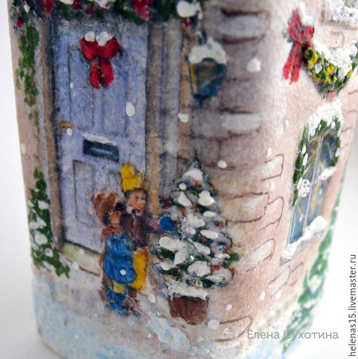 Купить Домик рождественский винтажный бутылка-светильник 3D декупаж - дом, домик, рождество