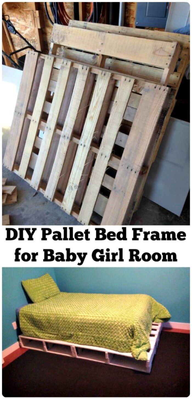 Wooden Pallet Bed Built for Baby Bedroom - Wooden Pallet Furniture Ideas