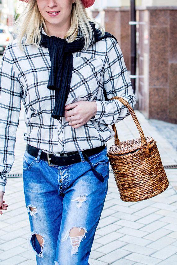 HANDMADE Vintage Jane Berkin Style Handmade  Wicker Basket Bag