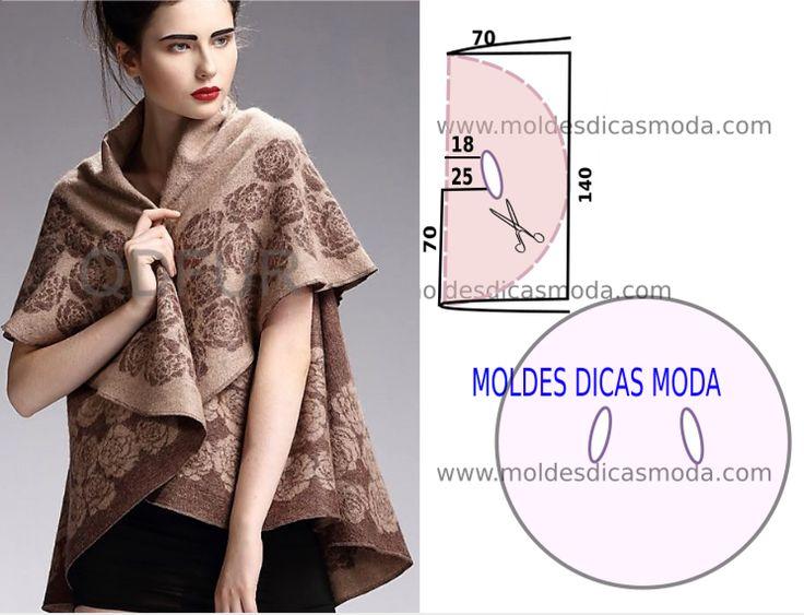 O molde para capa de inverno feminina foi por mim testado e encontra-se no tamanho único. As medidas da ilustração do molde não têm valor de costura tem...