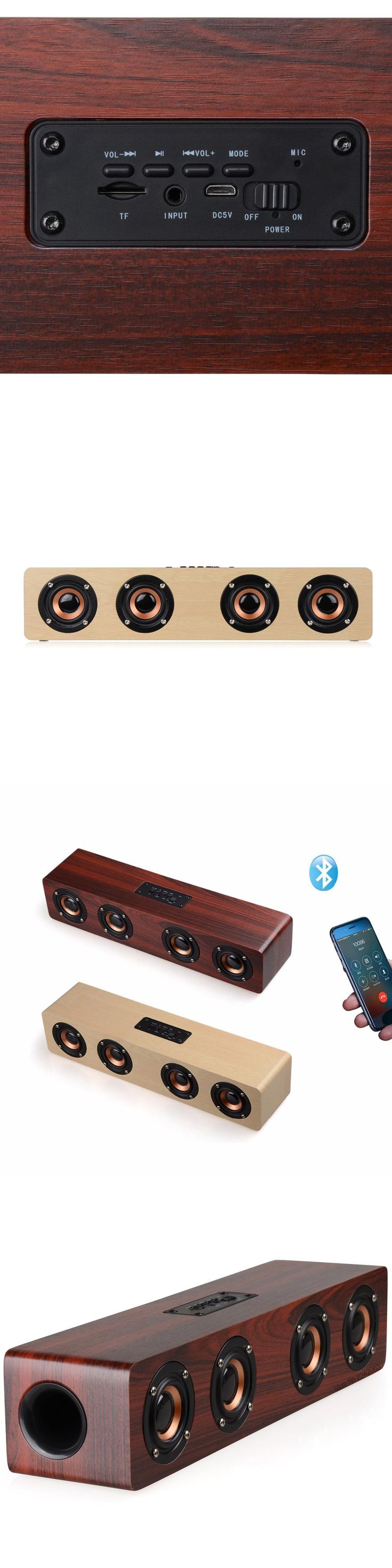 Wooden Wireless Bluetooth Speaker Portable 3W*4 3000Mah Handsfree Subwoofer Loudspeaker For Iphone Samsung Support TF card