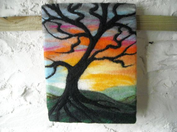 abstract tree at sunset wet felted fiber art