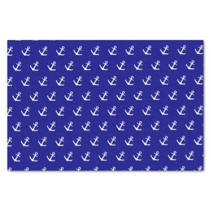 White Boat Anchors on Navy Blue Tissue Paper - craft supplies diy custom design supply special