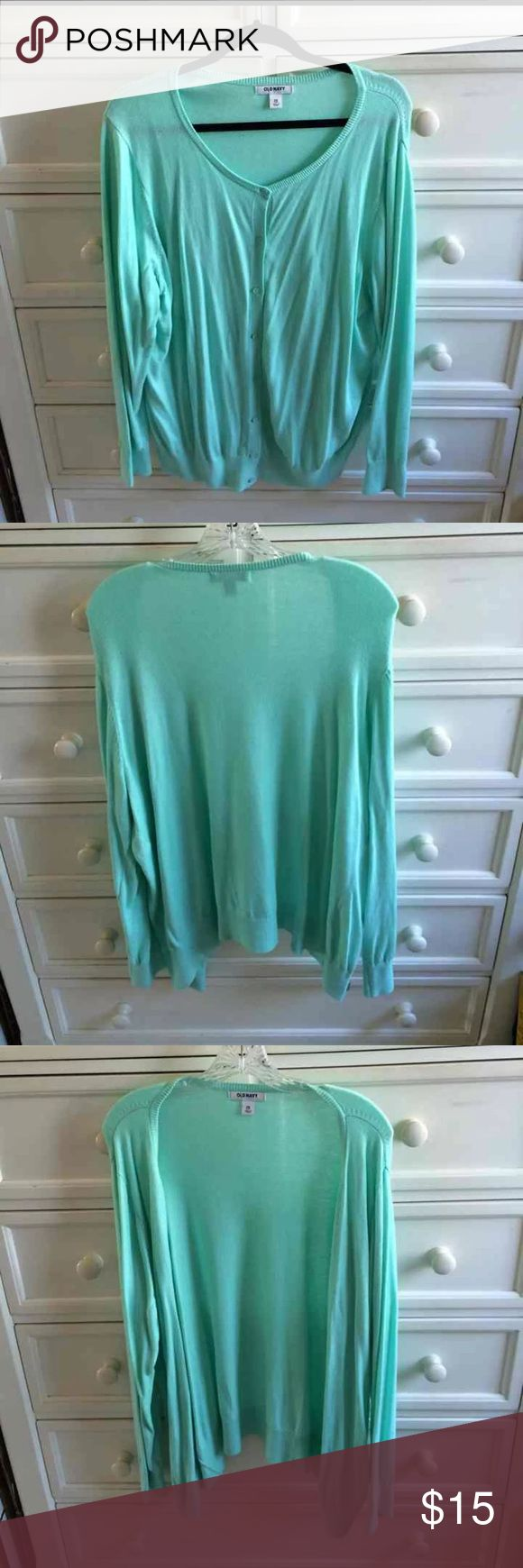 Old Navy Turquoise Cardigan-2XL Old Navy Turquoise Cardigan. Barely Worn, like new! Super cute for spring and summer! Thin and lightweight. Old Navy Sweaters Cardigans