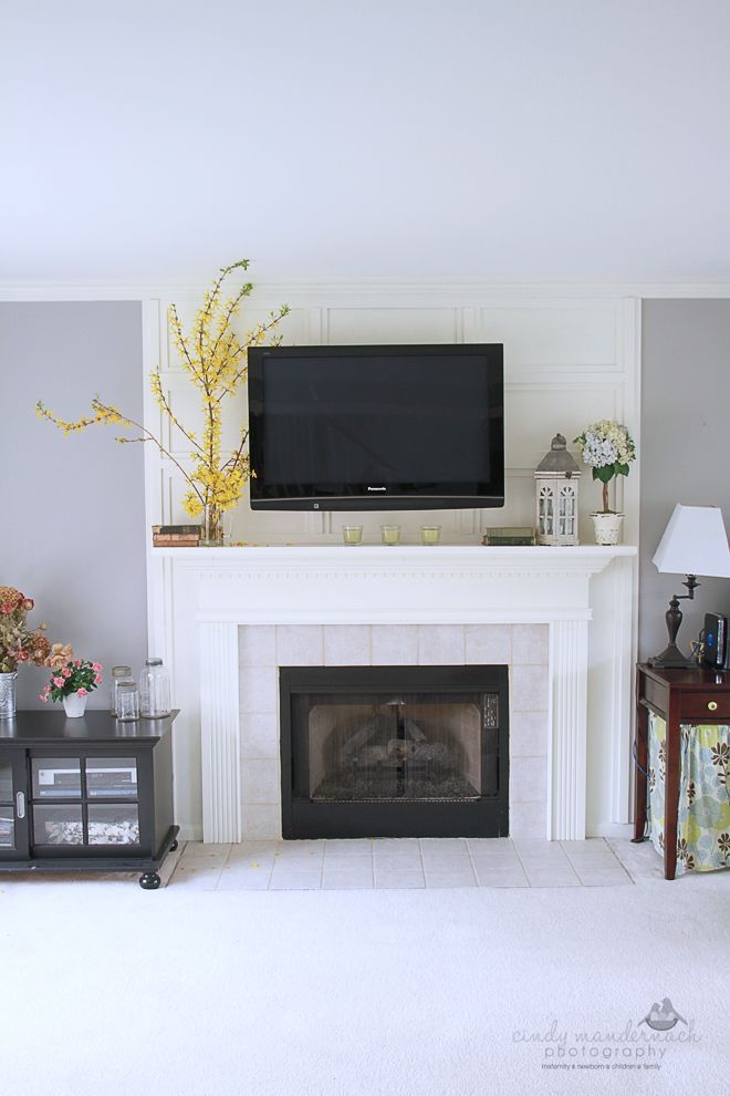 Decorating A Mantel With A Tv Above Wall Mount On The