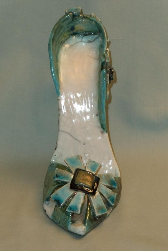 Sarah's Shoe   scultpured raku ceramic shoe by AShoeForSarah