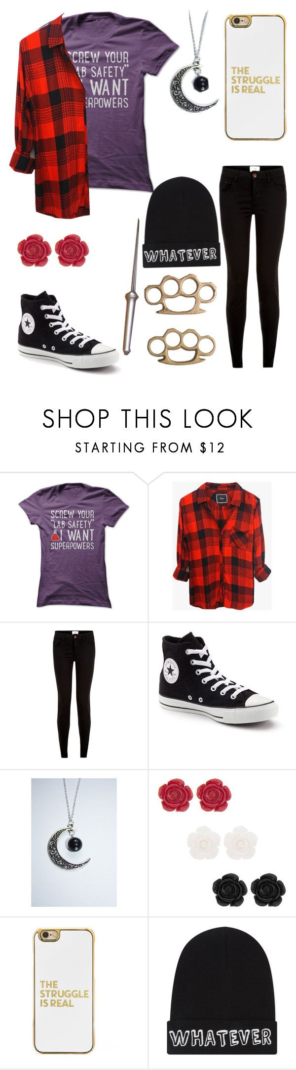 """spn oc"" by nerdtastical ❤ liked on Polyvore featuring Rails, New Look, Converse, BaubleBar and Local Heroes"