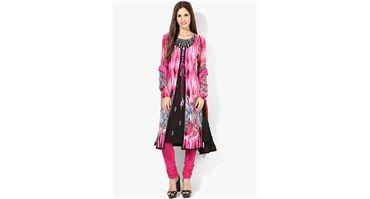 #Rain & #Rainbow #Fuchsia #Printed #Salwar #Kameez #Dupatta #With #Lining @ 50% #Discount
