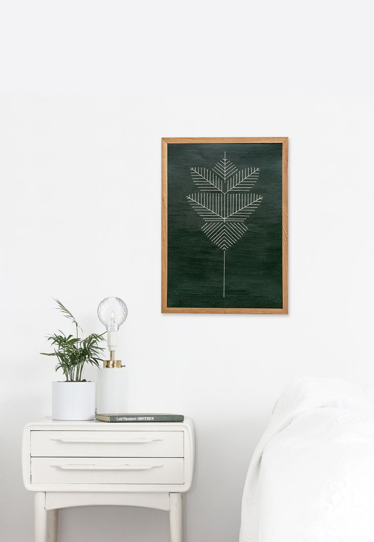 """Graphic String Artwork Green A3 is from a series of artworks """"GRAPHIC STRINGS OF NATURE"""", made by Christina Christensen from FRIDAJOHS."""