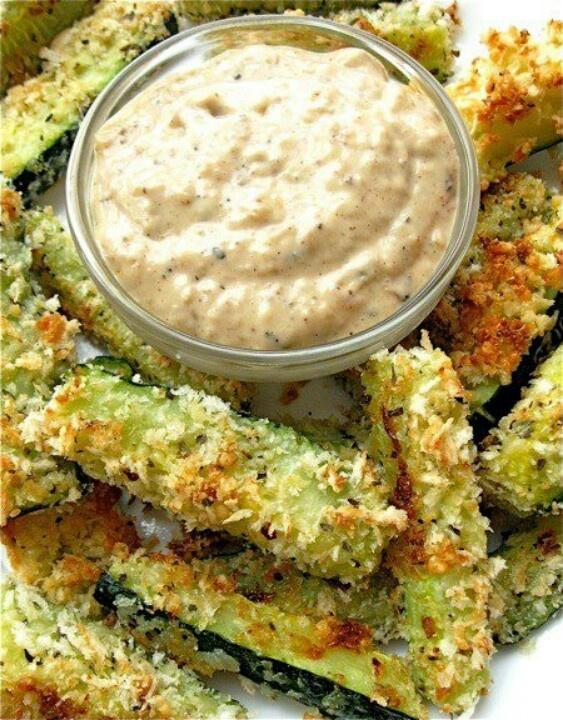 Baked zucchini sticks with blooming onion dip..