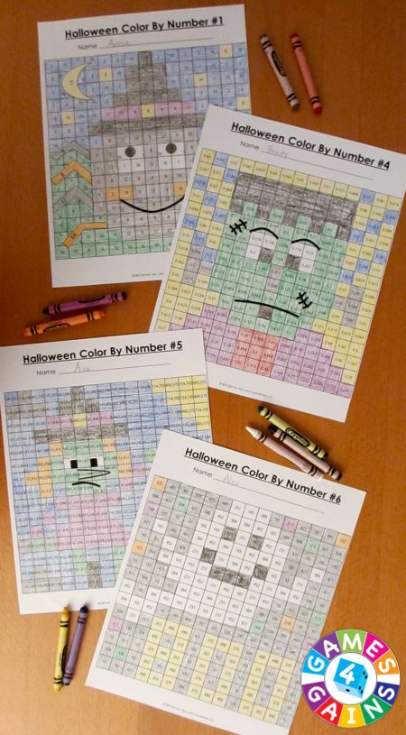 Each Halloween Math Color-by-Number set comes with 6 Halloween math…