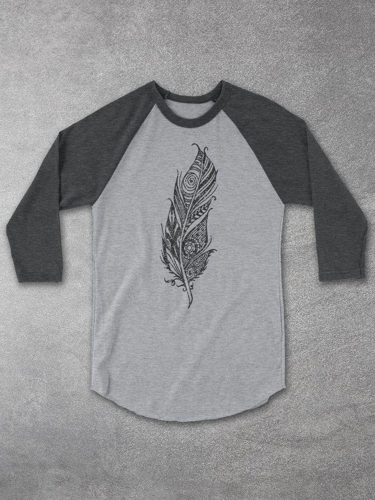 Boho Feather Baseball Tee - Casual Fashion T-Shirts For Men & Women - Womens tshirts