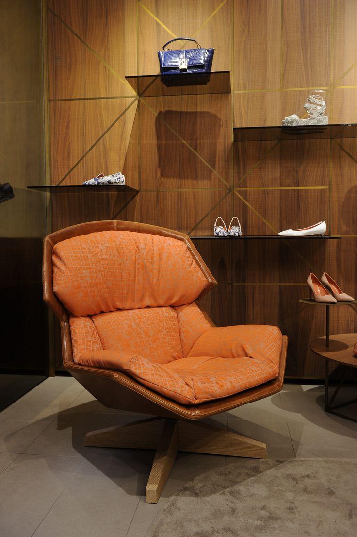 #Santoni - Clarissa louge chair orange,  Patricia Urquiola for Moroso   #SaloneDelMobile 2014  #MilanDesignWeek