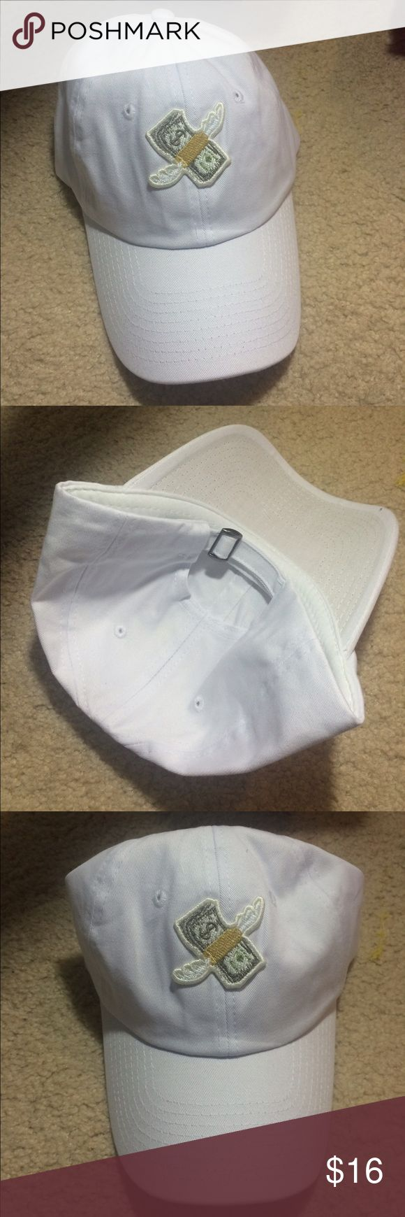 White baseball cap with money emoji Adjustable back, white baseball cap with the money with wings emoji. I HAVE 5 LEFT Accessories Hats