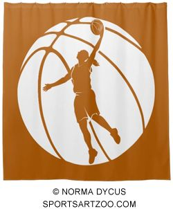 Girl Basketball Silhouette With Ball Shower Curtain by SportsArtZoo #basketball #girl #decor