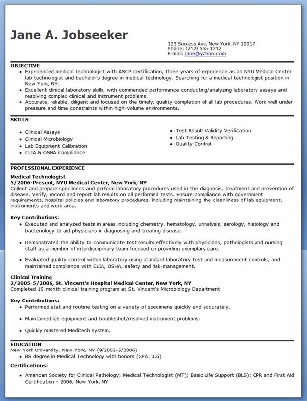 Medical Technologist Resume Example Creative Resume