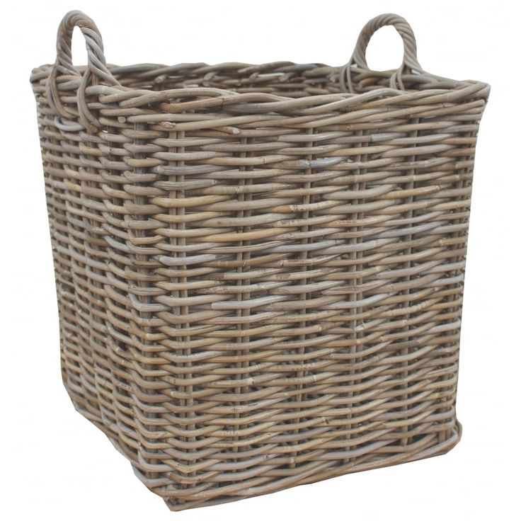 Grey & Buff Rattan Square Wicker Log Basket