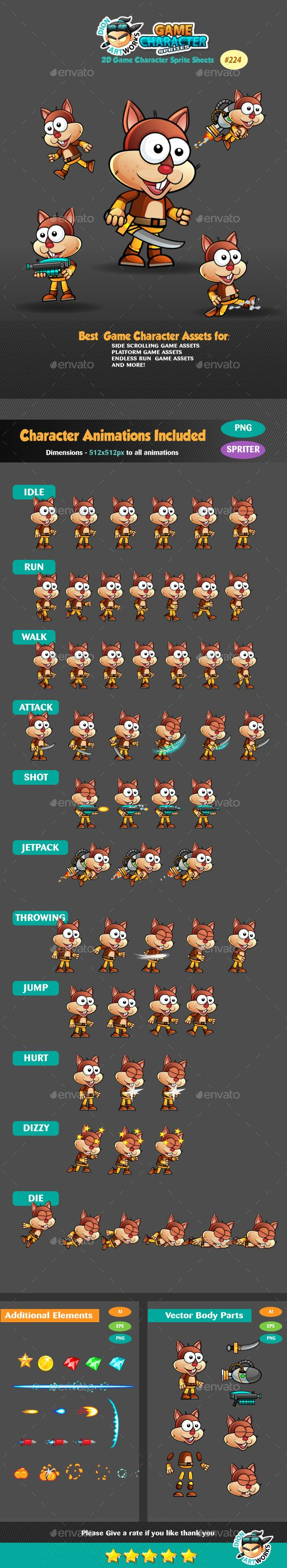 Squirrel Warrior Game Character Sprites 224 Download here: https://graphicriver.net/item/squirrel-warrior-game-character-sprites-224/16446996?ref=KlitVogli