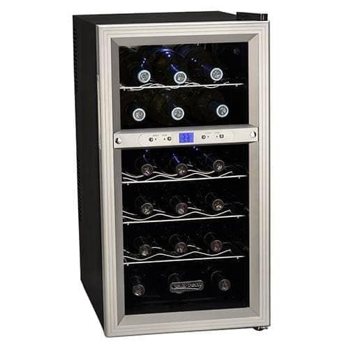 Koldfront TWR181E 14 Inch Wide 18 Bottle Wine Cooler with Dual Thermoelectric Cooling Zones, Grey