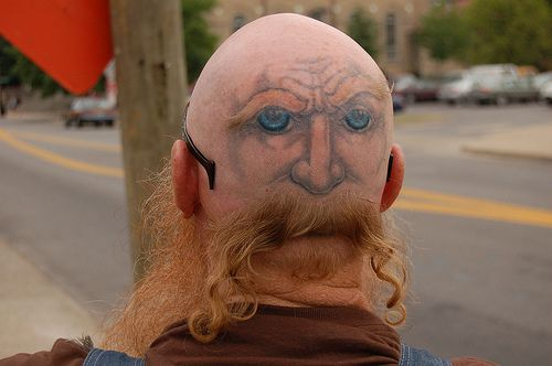 Eyes in the back of his head!This Man, Crazy People, Crazy Tattoo, Funny Tattoo, A Tattoo, Tattoo Design, Face Tattoo, Face Painting, Funny People