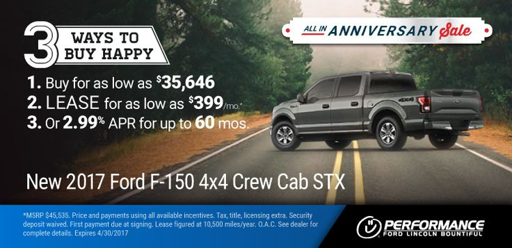 New 2017 Ford F150: All-in Anniversary Sale - '17 F-150 : 3 Ways To Buy Happy 1) Buy for as low as $35,646 2) Lease for $399/month & $0 Down 3) Or 2.99% APR for up to 60 months! https://www.performanceut.com/offers/new-2017-ford-f150-bountiful-0417?utm_source=rss&utm_medium=Sendible&utm_campaign=RSS